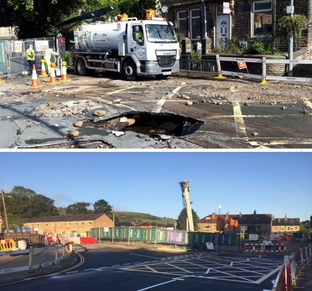 Mytholmroyd - Two photos first shows hole in middle of main road caused by a burst water main. The second photo shows repairs after only 50 hours with the road re-opened.