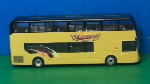 Driver side photo Yelloway Coaches Ltd Alexander Dennis 87 Seat Decker M90 YEL (was YX66 WLJ) Diecast Model in Yelloway cream with Yelloway Logo, livery flashes in gold, burgundy and orange. Route destination displays M2/M7 Halifax Gr produced by Paul Savage