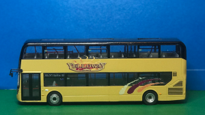 Passenger side photo Yelloway Coaches Ltd Alexander Dennis 87 Seat Decker M90 YEL (was YX66 WLJ) Diecast Model in Yelloway cream with Yelloway Logo, livery flashes in gold, burgundy and orange. Route destination displays M2/M7 Halifax Gr produced by Paul Savage