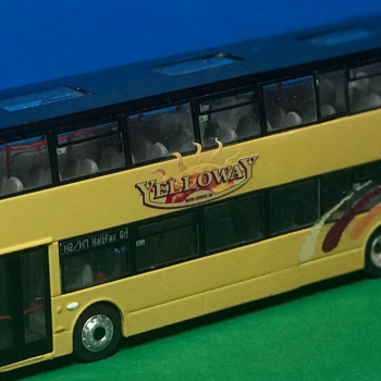 Front and passenger side photo Yelloway Coaches Ltd Alexander Dennis 87 Seat Decker M90 YEL (was YX66 WLJ) Diecast Model in Yelloway cream with Yelloway Logo, livery flashes in gold, burgundy and orange. Route destination displays M2/M7 North Halifax Grammar produced by Paul Savage
