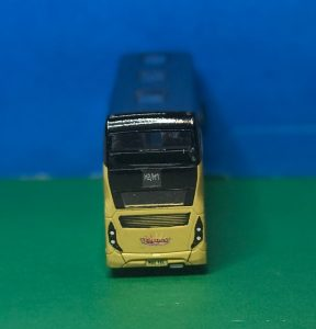 Rear photo Yelloway Coaches Ltd Alexander Dennis 87 Seat Decker M90 YEL (was YX66 WLJ) Diecast Model in Yelloway cream with Yelloway Logo, livery flashes in gold, burgundy and orange. Route destination displays M2/M7 produced by Paul Savage