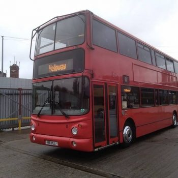 Photo of red double deck bus with Yelloway on destination