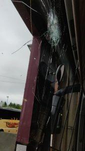 Coach windscreen damage